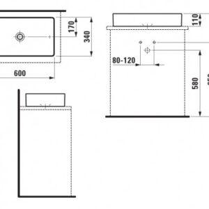 Умывальник-чаша Laufen-LIVING square 600х340мм. (8.1143.4.000.112.1)