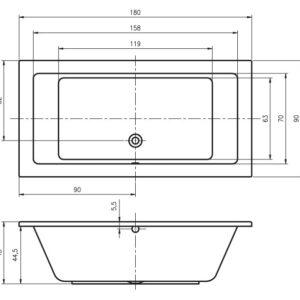Ванна акриловая RIHO LUSSO BA77 180×90
