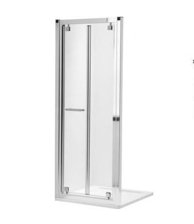 KOLO GEO 6 дверь в нишу bifold 90см. Стекло PRISMATIC,серебряный блеск