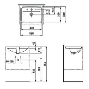 Умивальник вбудований монтаж знизу Laufen-PRO 49х36см. (H8119660001041)