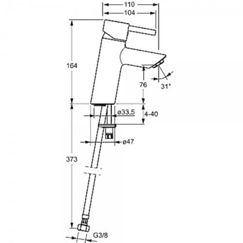 Смеситель для раковины (без д/к) Hansa VANTIS XL (52372277)