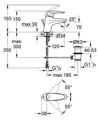 Смеситель для умывальника Grohe Eurodisc (33183001)