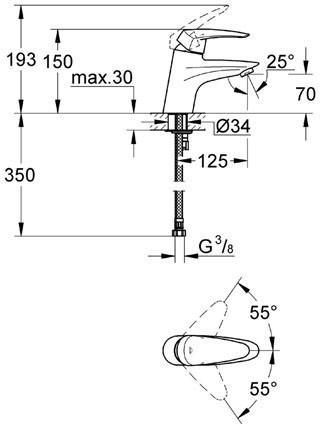 Смеситель для умывальника Grohe Eurodisc (32469001)