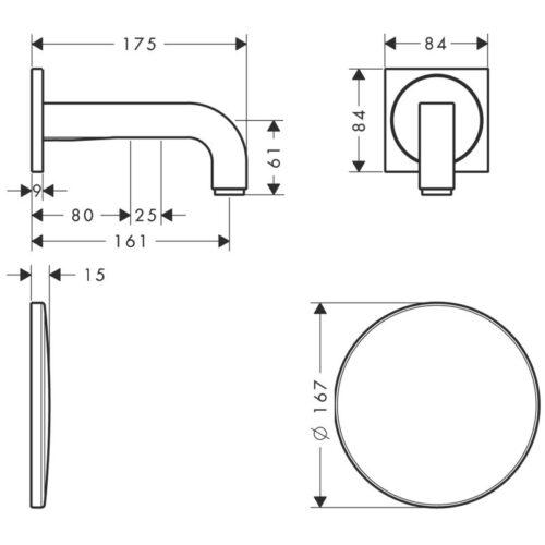 Смеситель для раковины, электронный, настенный HANSGROHE Axor Citterio (39117000)