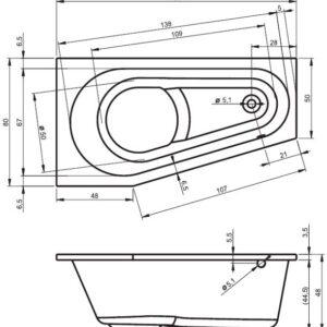 Ванна акриловая RIHO DELTA  BB81 150×80