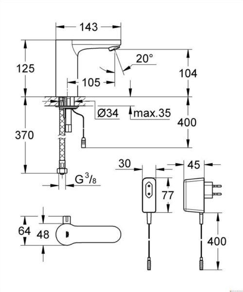 Смеситель для умывальника Grohe Eurosmart Cosmopolinan E 230V (36325000)