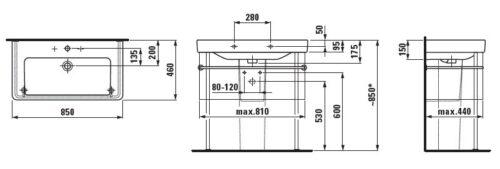 Умывальник накладной Laufen-Pro S 85х46 см. (8.1696.5.000.104.1)