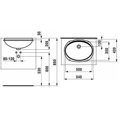 Умывальник встроенный сверху Jika Ibon 56см (8.1301.1.000.104.1)
