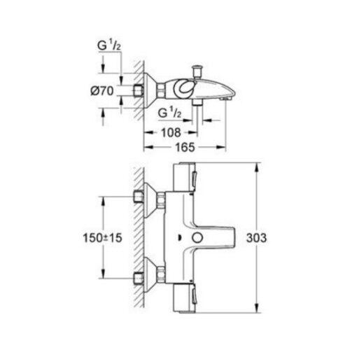 Термостат для ванны Grohe Grohtherm 1000 (34155000)