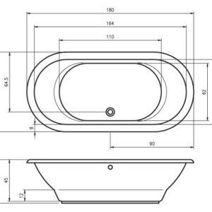 Ванна акриловая RIHO SETH BB22 180×86