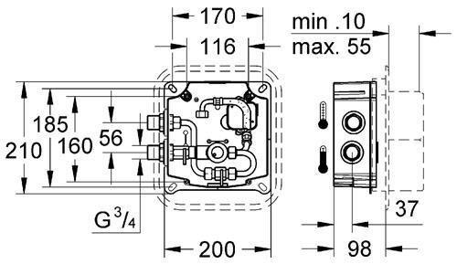 Встроенный механизм Grohe EuroplusЕ для (36243,36242) (36009)