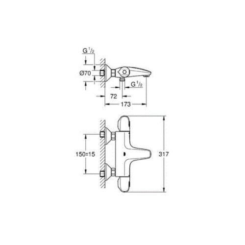 Смеситель-термостат для ванны Grohe Grohtherm1000 New (34155003)