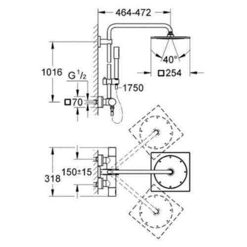 Душевая система с термостатом Grohe Rainshower 27569000
