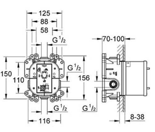 Встроенный универсальный смеситель Grohe Rapido E (35501000)