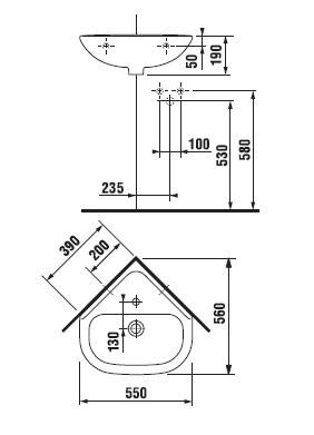 Угловой умывальник Jika Olymp 450хХ370мм (H8166140001041)