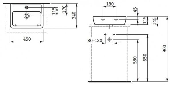 Умывальник-чаша накладная Laufen-PRO А45 см. (8.1195.2.000.104.1)