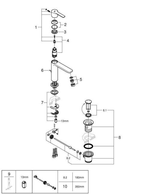 Смеситель для раковины с донным клапаном Grohe Lineare 32114001