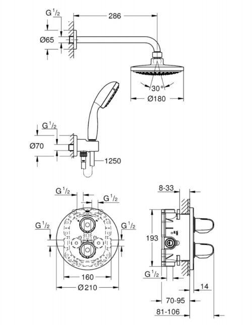Душевой набор с термостатом Grohe Grohtherm 1000 34614000