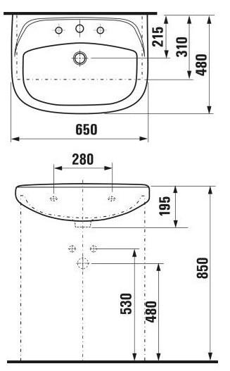 Умывальник Jika на мебель 65 см. (8.1436.4.000.104.1)