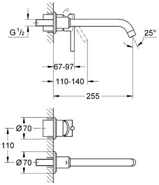 Смеситель настенный Grohe Jota 250 мм верхн. часть (19288)