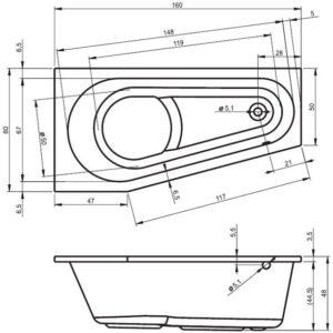 Ванна акриловая RIHO DELTA L BB83 160×80
