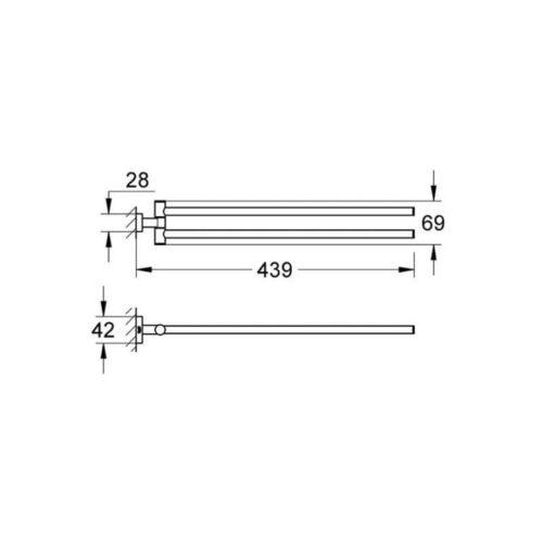 Держатель для полотенца двойной, поворотный Grohe Essentials Cube (40624001)