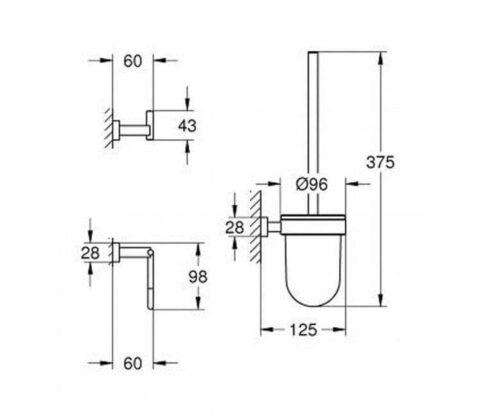 Набор аксессуаров для ванной комнаты 3-in-1 Grohe Essentials Cube 40757001