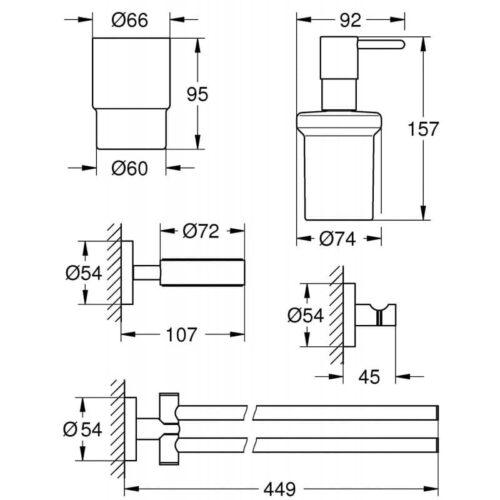 Набор аксессуаров GROHE Essentials 40846001 4 в 1