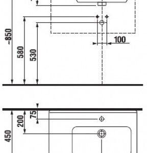 Умывальник Jika Cubito 75 см. (левый) (8.1242.1.000.104.1)