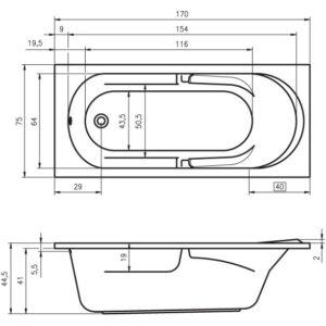 Ванна акриловая RIHO FUTURE BC28 170×75