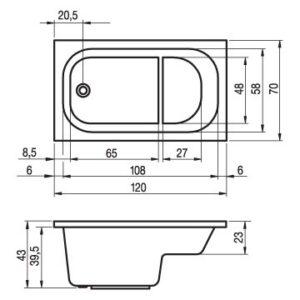 Ванна акриловая RIHO PETIT BZ25 120×70