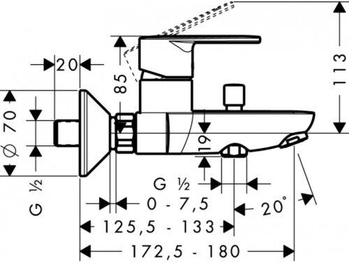 Смеситель для ванны, однорычажный HANSGROHE Talis E2 (31642000)