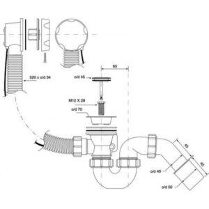 Сифон слив-перелив для ванны RIHO (560100210) автоматический
