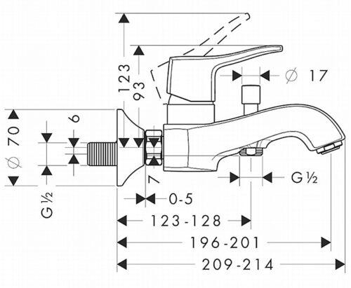 Смеситель для ванны, однорычажный HANSGROHE Metris Classic (31478000)