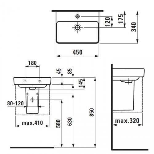 Мини умывальник Laufen-Pro S 45х34 см. (8.1596.1.000.104.1)