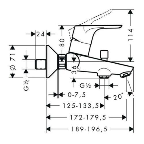 Смеситель для ванны, однорычажный HANSGROHE Focus E2 (31940000)