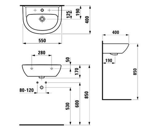 Раковина Laufen-PRO 550х400 мм. (8.1495.1.000.104.1)