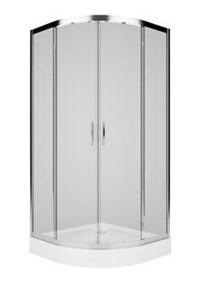 KOLO REKORD кабина полукруглая 90*90 см,профиль серебристый металлик,стекло прозрачное