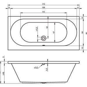 Ванна акриловая RIHO CAROLINA BB53 170×80
