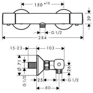 Термостат для душа с подключением шланга HANSGROHE Ecostat (13122000)