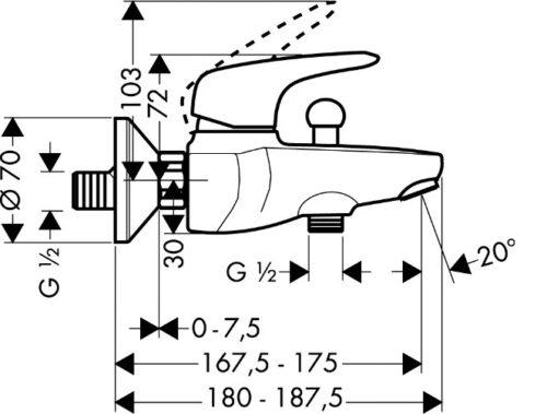 Смеситель для ванны, однорычажный HANSGROHE Metris E (31470000)