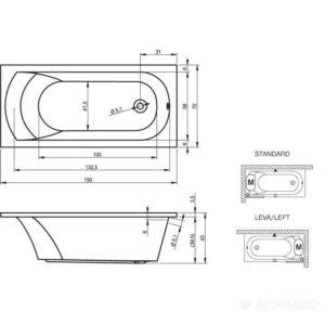 Ванна акриловая RIHO MIAMI BB58 150×70