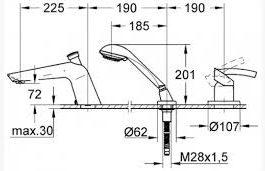 Смеситель для ванны 3 отв. Grohe Tenso (33341) (19153000)