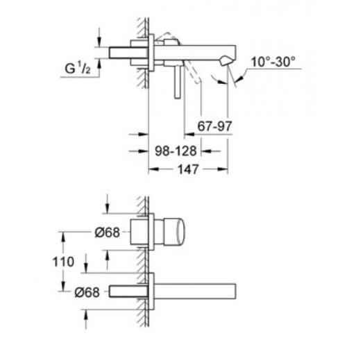 Смеситель для раковины на два отверстия Grohe Concetto (19575001)