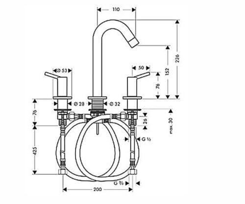 Смеситель для раковины двухвентильный, на 3 отверстия HANSGROHE Talis (32310000)