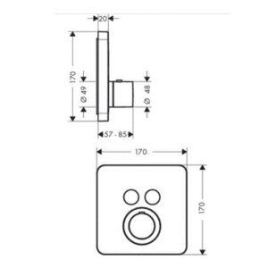 Термостат для душа HANSGROHE Axor Citterio ShowerSelect (36707000)