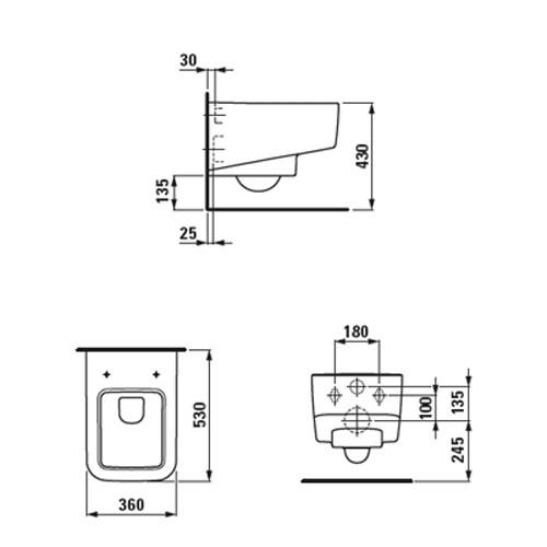 Унитаз подвесной квадратный Laufen-Pro S (H8209610000001)