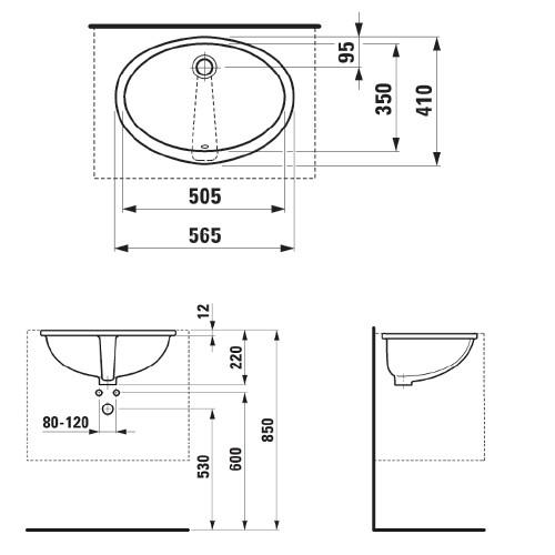 Умывальник вбудований монтаж снизу Laufen-LIPSY 565х415 мм, (8.1129.1.000.000.1)