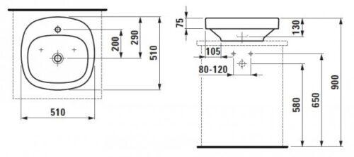 Умывальник-чаша с отверстием для смесителя Laufen-PALOMBA 510х510 (8.1280.1.000.111.1)