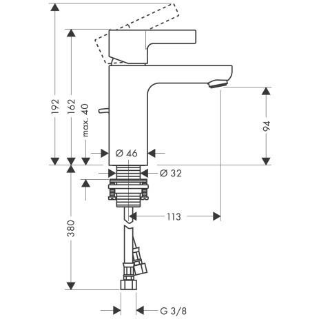 Смеситель для раковины, однорычажный HANSGROHE Metris S (31060000)